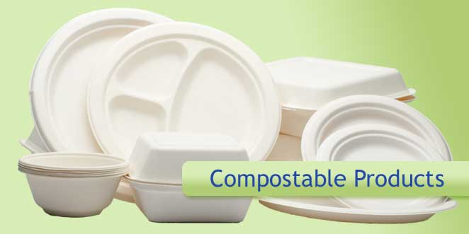 Compostable products made from bagasse and polylactic acid