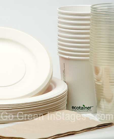 Image of Compostable Tableware Kit including plates, glasses, cups, cutlery, napkins and garbage bags.