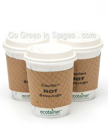 Image of biodegradable and compostable hot cup lids and insulating sleeves