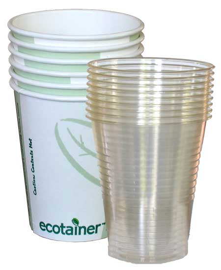Image of biodegradable and compostable glasses and cups from PLA