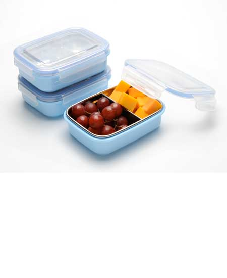 Steeltainer Compact Leak Proof Stainless Steel Food Containers Lunch Snacks Storage 3 Blue